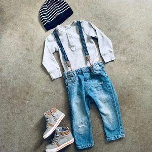 Boys H&M outfit Skinny Jeans Suspenders Shirt Hat